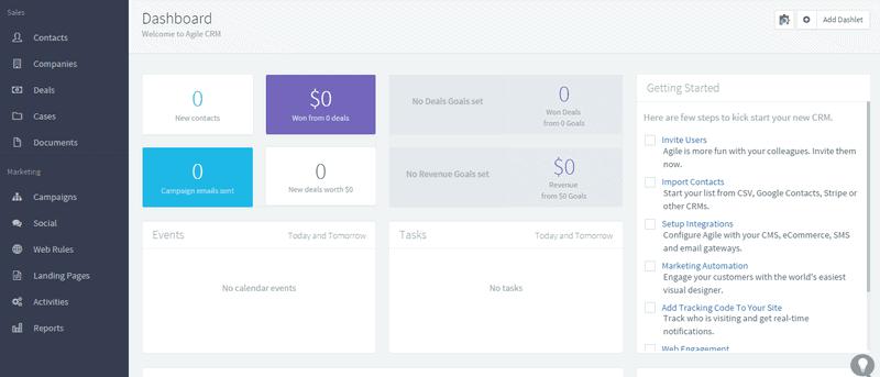 Dashboard de ventas de Agile CRM