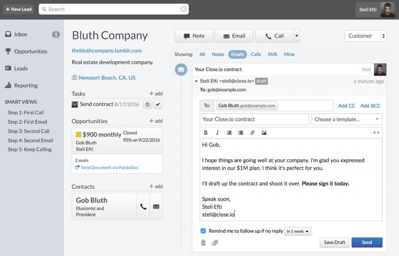 Herramienta de email marketing de Close.io