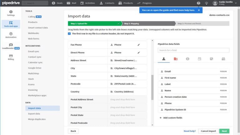 Importar data Pipedrive CRM